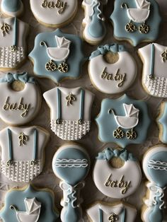 Baby shower Baby Boy Cookies, Baby Shower Cookies, Fun Cookies, Unique Baby Shower Cakes, Elephant Baby Shower Favors, Biscuit Decoration, Dessert Decoration, Sugar Cookie Cakes, Royal Icing Cookies