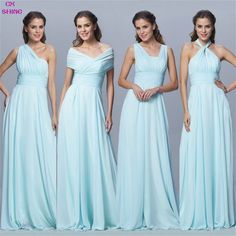 Custom Color Size!Chiffon long Convertible bridesmaid dresses Blue pink ribbon wedding Prom party dress Plus size women Vestidos