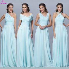 Custom Color Size!Chiffon long Convertible bridesmaid dresses Blue pink ribbon wedding Prom party dress Plus size women Vestidos