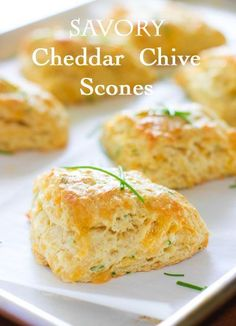 and Chive Savory Scones Cheddar and Chive Savory Scones - a nice change from plain old dinner rolls!Cheddar and Chive Savory Scones - a nice change from plain old dinner rolls! Bread And Pastries, Savory Scones, Savory Muffins, Savory Pastry, Love Food, Breakfast Recipes, Scone Recipes, Catering, Food To Make