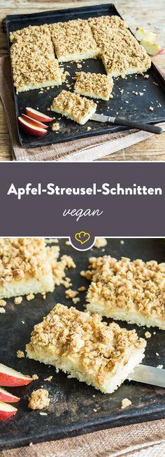 Margarine, Zucker und Mehl – mehr brauchst du nicht, um vegane Streusel zu machen. Willst du aber richtig gute, vegane Streusel machen, dann sind brauner Zucker, Haferflocken und Walnüsse das Geheimnis deiner nächsten Streuselschnitten. In Kombination mit saftigen Äpfeln – ein fruchtiges Knuspervergnügen.