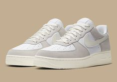 """The Nike Air Force 1 Low """"White Sail"""" Gives A Lesson In Premium Craftsmanship Dr Shoes, Cute Nike Shoes, Hype Shoes, Shoes Jordans, Air Jordans, Jordan Shoes Girls, Girls Shoes, Shoes Women, Trendy Shoes"""