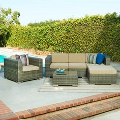 6-Piece Jeremy Patio Seating Group in Grey