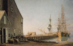 John Stobart - Nantucket: Straight Wharf in 1832.  Limited edition print from original the oil painting. Size: 14″ x 23 1/2″ Edition: 750  -- on ScrimshawGallery.com #JohnStobart #Stobart