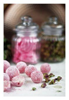 Rose, violet, hibiscus truffles