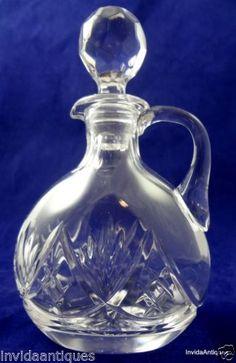Beautiful Chalice Fan Cut Crystal Glass Cruet Oil Vinegar Bottle with Stopper