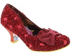 IRREGULAR CHOICE DAZZLE RAZZLE RED LACE EFFECT LOW HEEL WEDDING SHOE | eBay