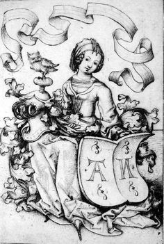 Lady with owl and AN in her escutcheon, 1485, Stehfaltenkleid
