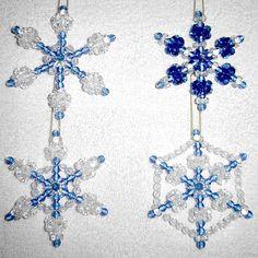 Beaded Snowflake Ornaments, 4pc Set - Sapphire Blue