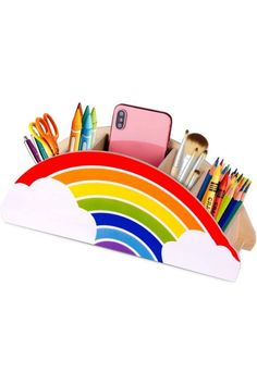 Desk Organization, Classroom Organization, Classroom Decor, Organizing, Poster Storage, Wooden Pen Holder, Wooden Desk Organizer, Wooden Rainbow, Cute Office