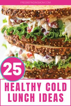Do you need quick, easy, and delicious cold lunch ideas for work or home? Here you'll find 25 Healthy Cold Lunch Ideas that are nutritious, flavorful, and budget friendly. Try healthy recipes like Gluten Free Greek Pasta Salad, Skinny Chicken Caesar Pitas, Greek Yogurt Chicken Salad Sandwich, and more! #coldlunchideas #coldpastasaladrecipes #healthylunchideas #healthyrecipes Greek Yogurt Chicken Salad, Greek Pasta, Healthy Lunches For Work, Healthy Eating, Work Lunches, Low Calorie Recipes, Healthy Recipes, Diabetic Recipes, Free Recipes
