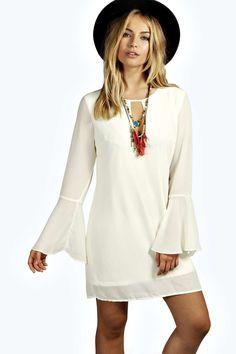 jolie abito a trapezio intessuto con maniche a campana anni '70