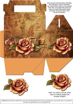 """Gable top box Autumn Roses on Craftsuprint designed by Judith Flavel - A great gift box for a small gift, with a beautiful design and an optional decoupage rose to add extra dimension. The box itself measures 11.5 x 7.5 x 7.5 cms (4� x 3 x 3 inches), with a handy carry handle. It is very easy to make and it folds flat for storage until it is needed. PLEASE NOTE that you need to print this sheet TWICE to make one box. To see all my designs in this series, just type """"gable-top box"""" into the…"""