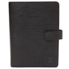 Louis Vuitton Black Epi Leather Medium Ring Agenda Cover - $379.99