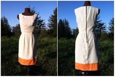 The Dreamer's Dress. Size 4. Creme and Orange Color Block Design. Silk and Cotton Blend Material. Fully Lined.. $240.00, via Etsy.