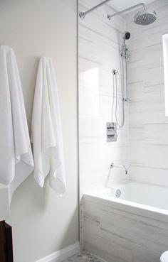 Aubrey & Lindsay - bathrooms - Benjamin Moore - Classic Gray - marble alternatives, looks like marble, white marble alternative, marble subs...