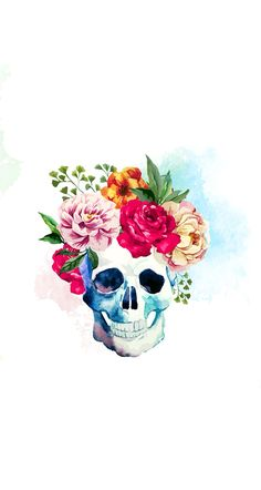 Skull with pretty flowers