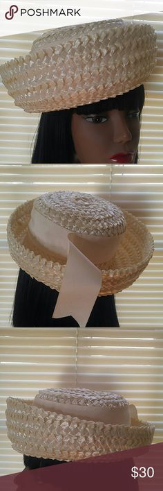 """Vintage Cream Woven Betmar Hat Vintage Cream Woven Betmar Hat Beautiful Condition! Probably Never Worn. 21"""" High Low Style Brim...very nice ! Vintage Accessories Hats"""