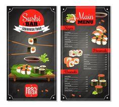 Sushi bar menu with label, chopsticks, price list for nigiri, maki on black background isolated vector illustration , Food Menu Design, Food Poster Design, Restaurant Menu Template, Restaurant Menu Design, Sushi Bar Menu, Sushi Ingredients, Coffee Shop Branding, Digital Menu Boards, Chef Dishes