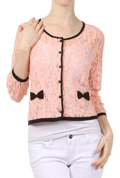 Sweet Impressions Lace Embriodered Cardigan with Bows in Blush Pink