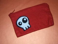 felt skull applique on felt bag