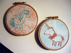 Pegasus & Unicorn free embroidery pattern