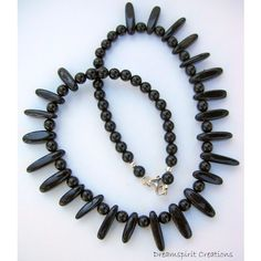 Black Onyx Choker Necklace, OOAK (£52) ❤ liked on Polyvore featuring jewelry, necklaces, lobster claw clasp charms, bead charms, beading charms, choker necklace and beaded choker