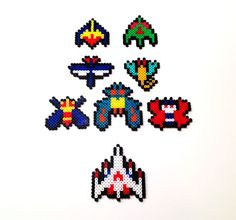 Galaga Perler Bead Sprites (Set of via Etsy Pixel Beads, Fuse Beads, Diy Perler Beads, Pearler Beads, Loom Beading, Beading Patterns, Tiny Cross Stitch, 8bit Art, Nerd Crafts