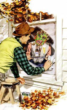 Window Washing - Halloweenization. Detail from 1951 Budweiser ad.
