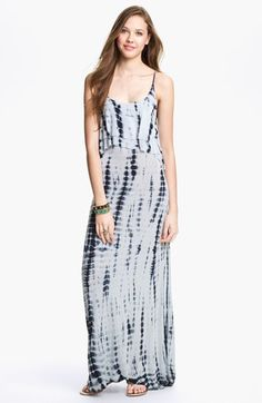 Mimi Chica Tie Dye Cutout Back Tiered Maxi Dress (Juniors) available at #Nordstrom