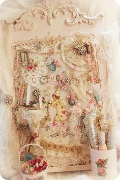So shabby inspiration board♥  Buy a frame at Goodwill; paint it pastel pink; cover a piece of matboard with shabby cloth.  Then decorate it with odds and ends of shabby stuff.
