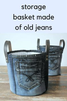 medium storage basket made of old jeans - laundry basket - XXL basket - toy bin - storage - basket canvas : This upcycled jeans baskets are such a great idea! Jean Crafts, Denim Crafts, Blue Gift Basket, Denim Ideas, Storage Baskets, Bin Storage, Recycled Denim, Denim Bag, Repurpose