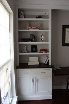 Home Office Remodel With Home Made Built-Ins :: Hometalk Home Office Furniture, Online Furniture, Home Office Design, House Design, Office Built Ins, Make Build, Shaker Style Doors, Built In Cabinets, Bookshelves