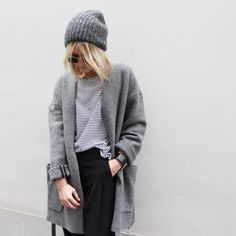love the grey coat and the beanie