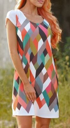 Love the Colors! Chic Scoop Collar Short Sleeve Rainbow Color Geometric Print Dress