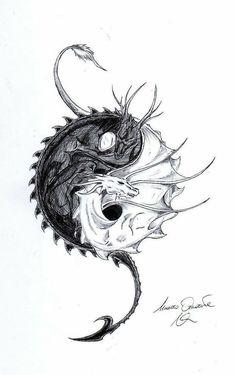 Dragon Ying Yang by on DeviantArt - Dragon Ying Yang by LoneWol . - Dragon Ying Yang by on DeviantArt – Dragon Ying Yang by – - Yin Yang Tattoos, Dragon Yin Yang Tattoo, Tatuajes Yin Yang, Kunst Tattoos, Body Art Tattoos, Sleeve Tattoos, Cool Tattoos, Small Tattoos, Tatoos