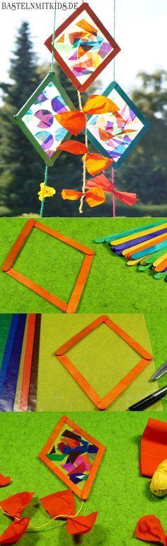 Drachen Basteln Mit Holzstäbchen Basteln Mit Kindern This Is In German But It Looks Like A Cute Kite Craft For Kids Kids Crafts, Fall Crafts For Kids, Summer Crafts, Craft Stick Crafts, Diy For Kids, Arts And Crafts, Paper Crafts, Diy Paper, Wood Crafts