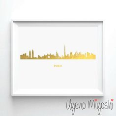 Dubai Skyline Gold Foil Print, Gold Print, Dubai United Arab Emirates City Skyline Gold Print, Illustration Art Print, Gold Foil Art Print  - These prints are done with shiny gold finish. - All designs are printed on premium quality matte finished photo papers. - Listing is for gold print only. Frame is NOT included. - Picture shown is gold print size of 8 x 10 - With text = with DUBAI, without text = without DUBAI - ❤❤❤ Due to the hand made process of this print, slight imperfectio...