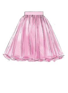 McCall's Sewing Pattern Misses' Gathered and Flared Skirts with Belt Dress Design Drawing, Dress Design Sketches, Fashion Design Sketchbook, Fashion Design Drawings, Dress Drawing, Fashion Sketches, Fashion Illustration Poses, Illustration Mode, Design Illustrations