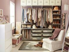 Use of boxes along the top and trouser hanger area to maximise space