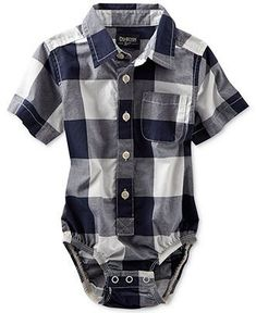 Osh Kosh Baby Boys' Buffalo Check Woven Bodysuit - Kids Baby Boy (0-24 months) - Macy's #boyoutfits