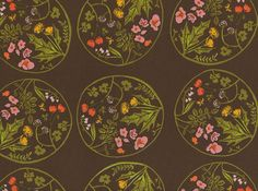 Heather Ross Tiger Lily Wreaths Cotton Brown