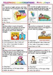 English worksheet: TELEPHONE CONVERSATION - Role plays