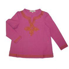 Summer tunics by mini Moroc. Made using organic fabrics and colourful silk braiding.