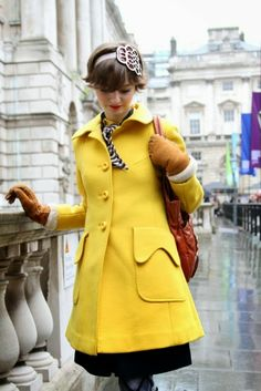 To brighten the greyest day, a yellow winter coat.... Dreamy!