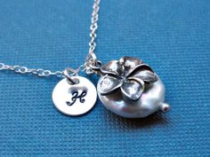 Plumeria flower necklace, STERLING SILVER, white coin pearl, Wedding, Romantic, Bridal, Hawaiian inspired, charm. $30.00, via Etsy.