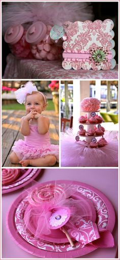 Pink Sparkle Birthday Party - love the painted candy jar and the use of pixie sticks and lollipops Baby 1st Birthday, First Birthday Parties, Birthday Party Themes, First Birthdays, Birthday Ideas, Ballerina Birthday, Pink Parties, Party Time, Party Party