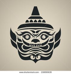 Vector face of giant thailand, Vintage traditional Thai style - stock vector