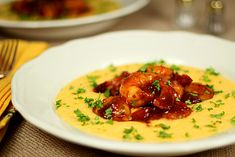 Barbecue Shrimp with Grits