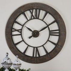 "40"" Uttermost Ronan Wall Clock in Dark Rustic Bronze"